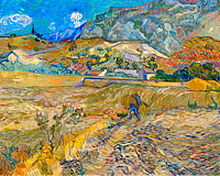 Vincent van Gogh: Enclosed Wheat Field with Peasant / Landscape at Saint-Rémy