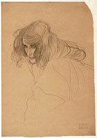 Густав Климт: Head of a Woman in Three-Quarter Profile (Study for the Beethoven Frieze), 1901-1902