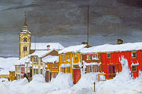 Харальд Сольберг: Street in Røros in Winter