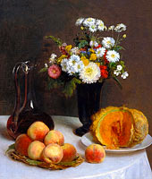 Henri Fantin-Latour: Still Life with a Carafe, Flowers and Fruit