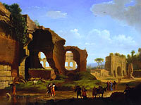Herman van Swanevelt: A Roman View of the Ruins of the Temple of Venus and Rome with the Colosseum and the Arch of Constan...