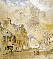 Horatio McCulloch: Edinburgh Castle from the Foot of the Vennel, 1845