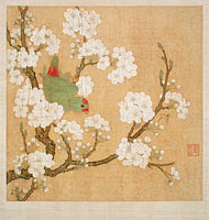Huang Jucai: Parrot and insect among pear blossoms