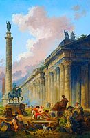 Hubert Robert: Imaginary View of Rome with Equestrian Statue of Marcus Aurelius, the Column of Trajan and a Temple