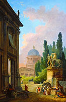 Hubert Robert: Imaginary View of Rome with the Horse-Tamer of the Monte Cavallo and a Church