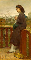 Jacob Maris: Girl knitting on a balcony, Montmartre