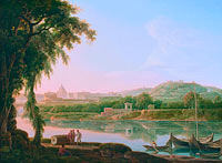 Якоб Море: A distant view of Rome across the Tiber