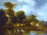 Якоб Исаакс ван Рёйсдал: A wooded landscape with a pond