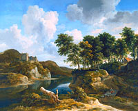 Jacob Isaacksz. van Ruisdael: River Landscape with a Castle on a High Cliff