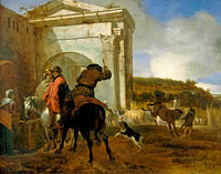 Italian Landscape with Horsemen by a Spring
