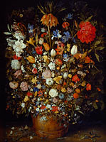 Jan Brueghel the Elder: Flowers in a Wooden Vessel