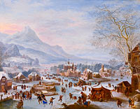 Jan Griffier: Winter Scene with Skaters