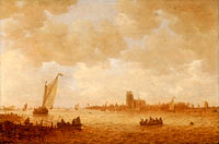 Ян ван Гойен: View of Dordrecht with the Grote Kirk Across the Maas