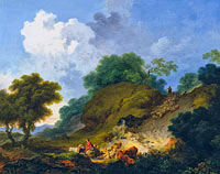 Jean-Honoré Fragonard: Landscape with Shepherds and Flock of Sheep