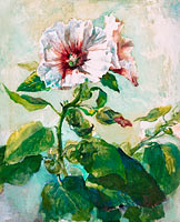 John La Farge: Study of Pink Hollyhocks in Sunlight, from Nature
