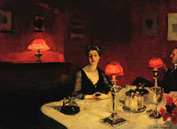 John Singer Sargent: Le verre de porto (A Dinner Table at Night)