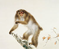 Unknown Painter: Old Monkey with Cherry in Autumn