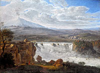 Карл Готард Грасс: The Caracci Waterfall Near Aderno at the Foot of Mt. Etna