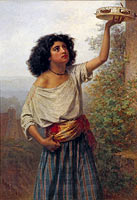Карл Якоб Вильгельм Хун: A young Gypsy woman with a tambourine