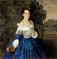 Konstantin Somov: Lady in blue. Portrait of Ye.M. Martynova
