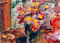 Ловис Коринт: Flower Vase on a Table, 1922