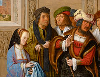 Lucas van Leyden: Potiphar's wife shows her husband Joseph's cloak. In the background: Joseph being taken to prison