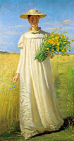 Michael Ancher: Anna Ancher returning from the field