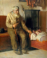 Michael Ancher: Blind Kristian minding a child