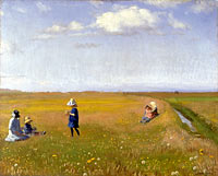 Michael Ancher: Children and young girls picking flowers in a field north of Skagen