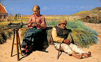 Michael Ancher: Figures in a landscape. Blind Kristian and Tine among the dunes
