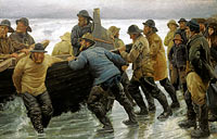 Michael Ancher: Fishermen launching a rowing boat