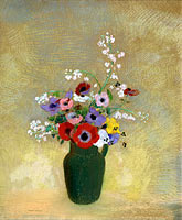 Odilon Redon: Large Green Vase with Mixed Flowers