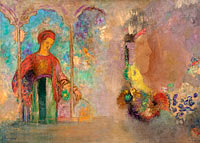Odilon Redon: Woman in a gothic arcade: woman with flowers