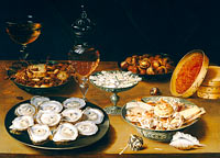 Осиас Берт: Dishes with Oysters, Fruit, and Wine