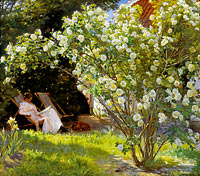 Roses. Marie Krøyer seated in the deckchair in the garden by Mrs Bendsen's house