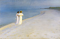 Summer evening on Skagen's Beach. Anna Ancher and Marie Krøyer walking together