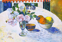 Paul Gauguin: Flowers and a Bowl of Fruit on a Table