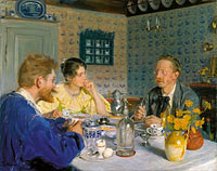 Peder Severin Krøyer: A luncheon. The artist, his wife and the writer Otto Benzon