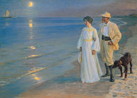 Педер Северин Крёйер: Summer evening on the beach at Skagen. The painter and his wife
