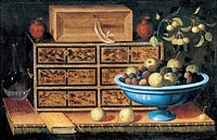 Педро де Кампробин: Writing Desk with a small Chest and a Fruit Bowl (1)