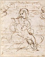 Reading Madonna and Child in a Landscape betweem two Cherub Heads (recto), 1509