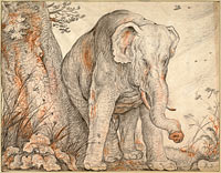 Roelant Savery: An Elephant Rubbing Itself against a Tree, c. 1608-1612