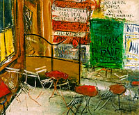 Saeki Yuzo: Café Terrace with Posters