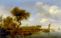 Саломон ван Рёйсдал: River Landscape with a Church in the Distance