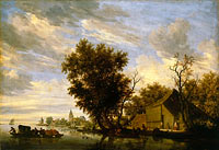 River scene with ferry boat