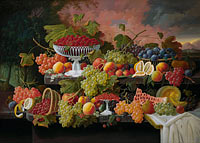 Severin Roesen: Two-Tiered Still Life with Fruit and Sunset Landscape