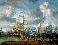 Abraham Storck: An English Yacht saluting a Dutch Man-of-War in the port of Rotterdam