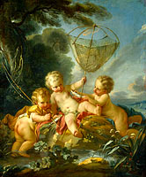 Putti as Fisherman