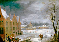 David Teniers the Younger: Winter Scene with a Man Killing a Pig