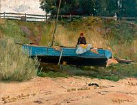 Tom Roberts: Boat on beach, Queenscliff